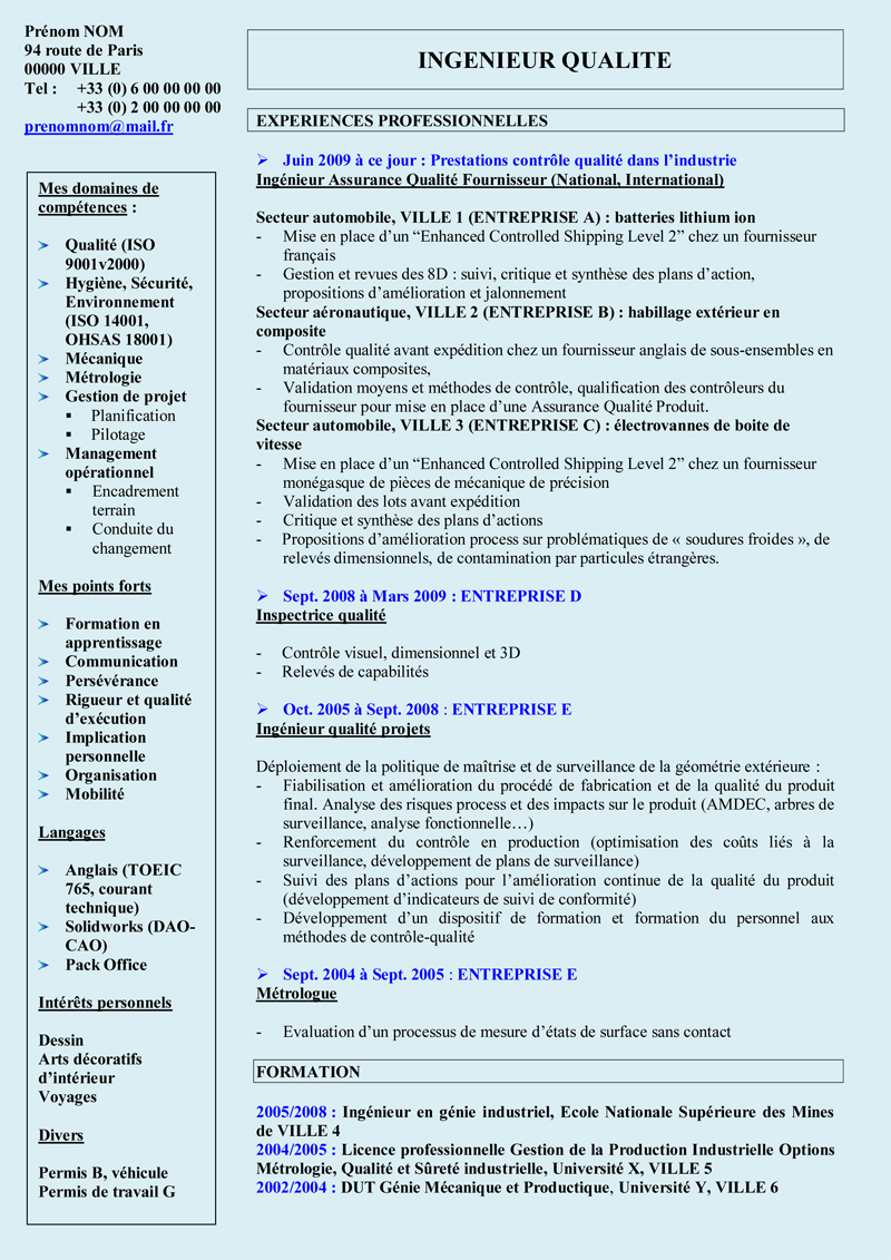 exemple cv responsable qualite