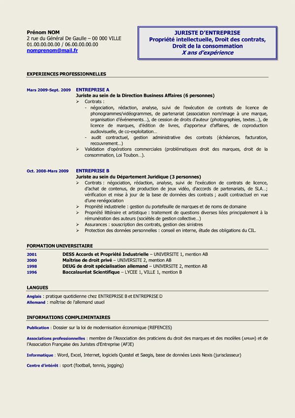 resume format  mod u00e8le de cv juriste gratuit