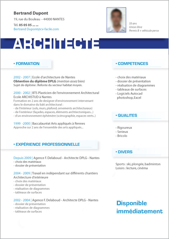 exemple de cv architecte web