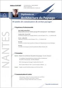 modele CV architecture paysage