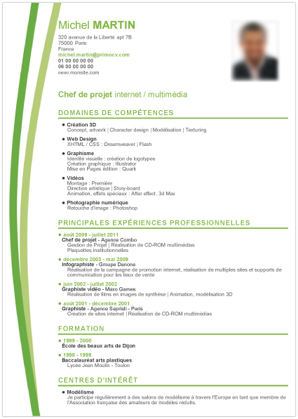 exemple cv chef de chantier Modèle CV Chef de Projet Inter& Multimédia | Mod7le CV exemple cv chef de chantier