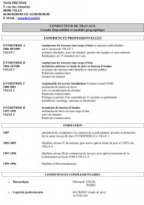 modele cv conducteur travaux