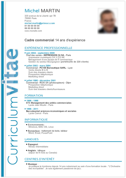 mod u00e8le cv cadre commercial - mod7le cv